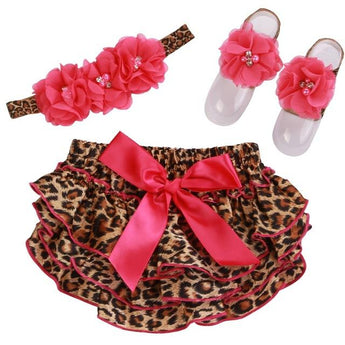 Leopard Bloomers, Headband & Barefoot Sandals