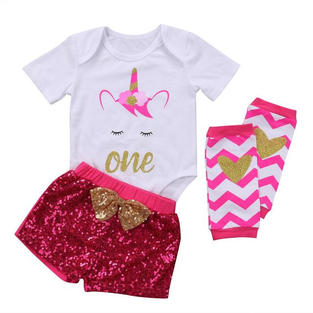 Unicorn Birthday Romper, Sequin Shorts & Leg Warmers