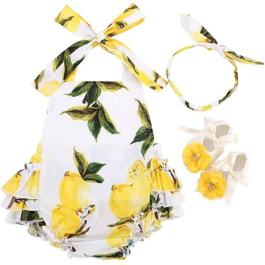 Yellow Lemon Ruffle Bottom Romper Set