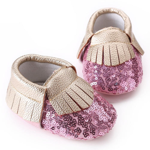Pink Sequin Moccasins