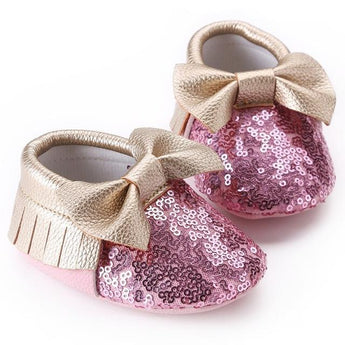 Bow Sequin Moccasins