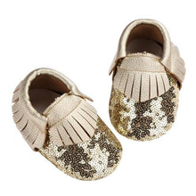 Gold Sequin Moccasins
