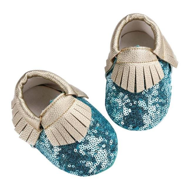 Teal Sequin Moccasins