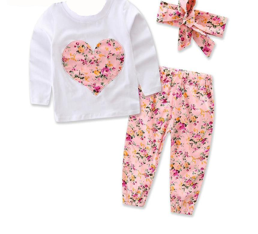 Floral Heart Top, Pants & Headband