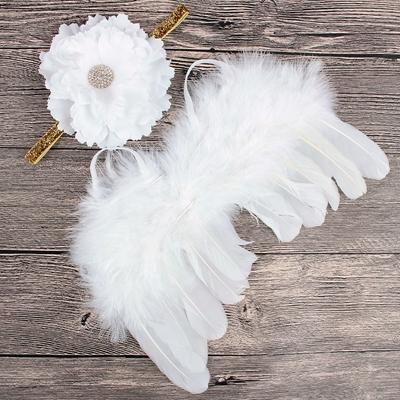 White Feather Angel Wings & Flower Blossom Headband