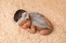 Gray Feather Angel Wings & Lace Flower Headband