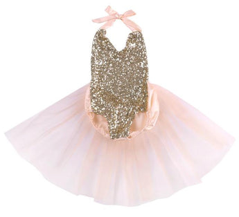 Baby Girl Sequin Romper with tulle tutu train skirt. Halter ties, baby pink color with gold sequins.