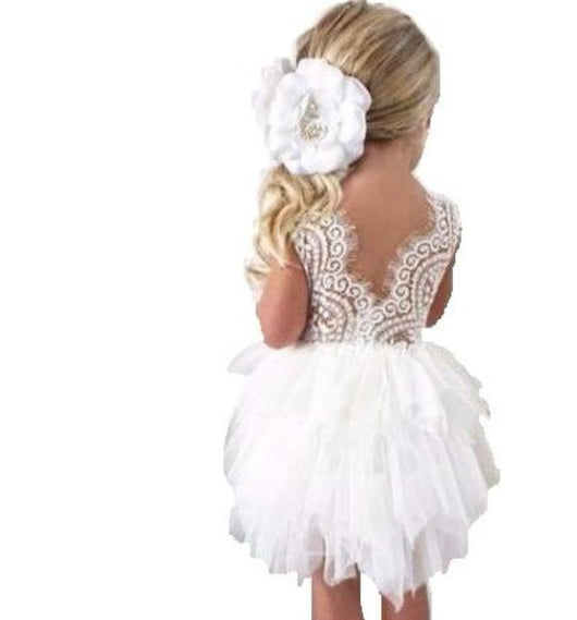 Cute baby dress with beautiful lace v back and tiered tulle in blush pink or white