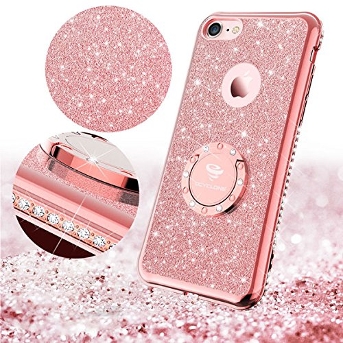 newest collection b02a9 c7662 Iphone Rose Gold Glitter Cute Phone Case Girls with Kickstand, Bling  Diamond - All Model