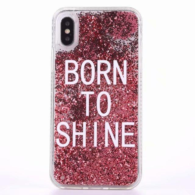 separation shoes fe595 85a9d Iphone Pink Born To Shine Tone Liquid Filled Glitter Phone Case - All Models