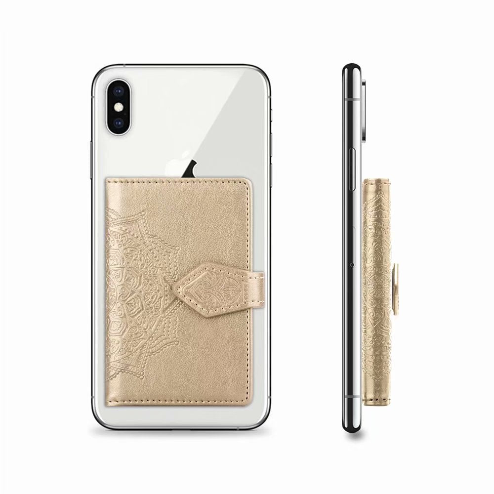 the best attitude cee30 cc7c8 Gold Flower Universal Adhesive Wallet Pocket Sticker Card Holder Case For  Cell Phone