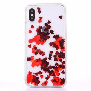 quality design a9bc9 50449 Iphone Red Heart Liquid Filled Glitter Phone Case - All Models