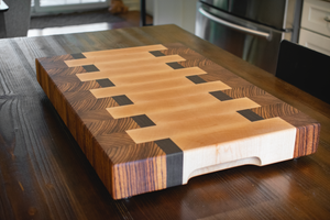 End Grain Butcher Block Zebra Wood / Maple / Wenge (One Only)