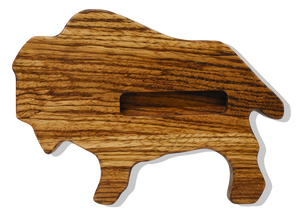 Buffalo Business Card Holder in Zebra Wood