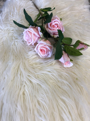 Real Touch Pink Rose Spray - Single Stem