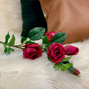 Fuschia Rose Spray - Single Stem Faux Flower