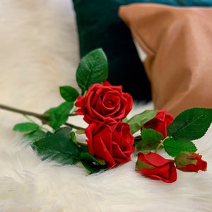 Real Touch Red Rose Spray - Single Stem