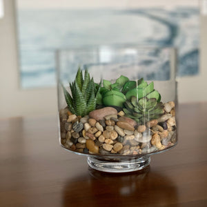 Clear Hurricane Vase with River Rock and Faux Succulents