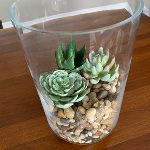 Tall Hurricane Vase with River Rock and Faux Succulents