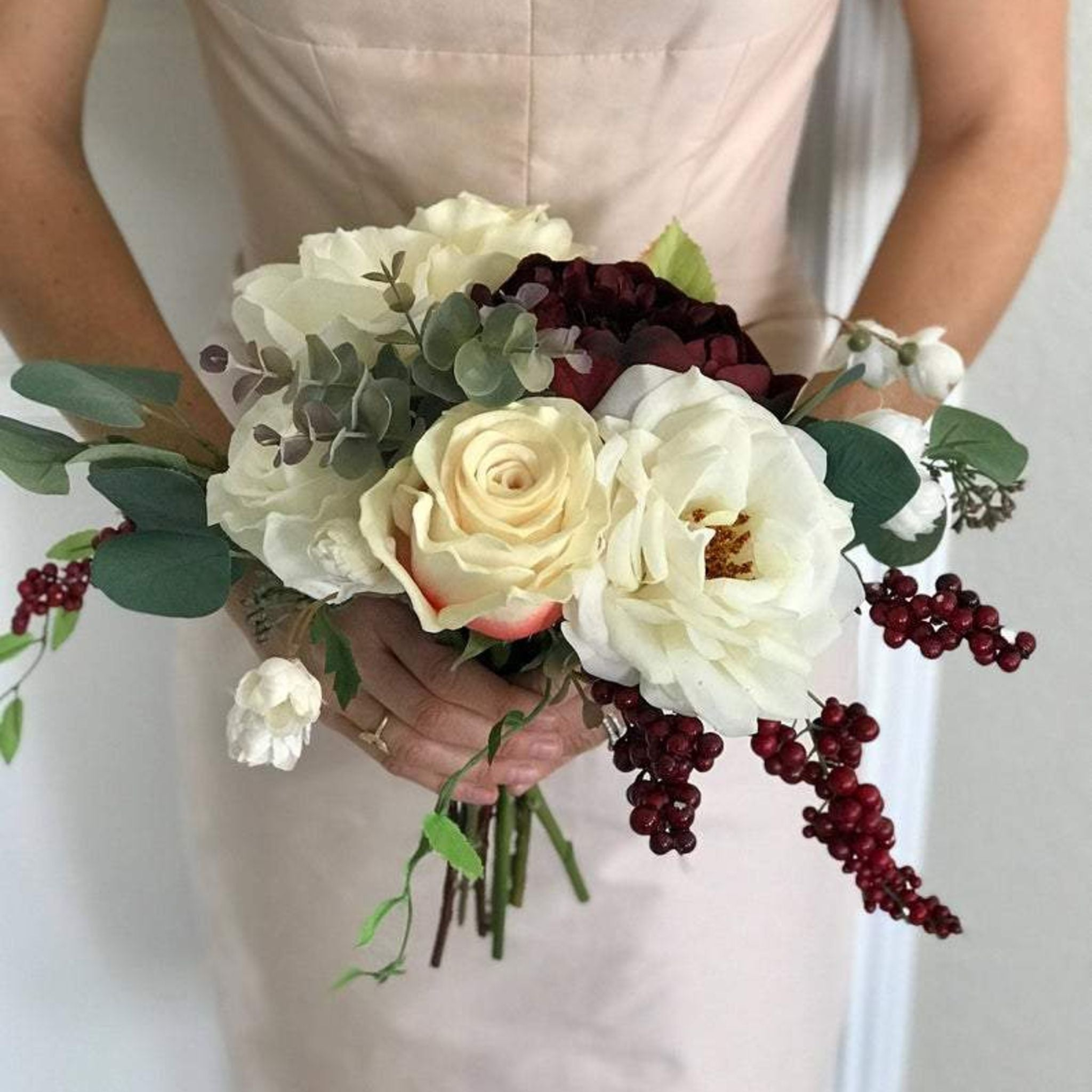 Champagne And Burgundy Wildflower Boho Bridesmaid Bouquet Faux Flowe Compass Rose Floral