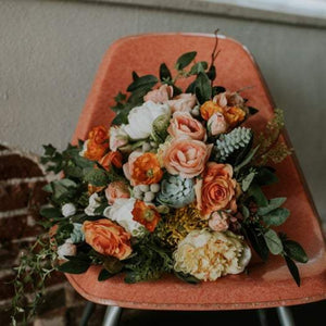 Orange Crush Bridal Bouquet - Faux Flowers