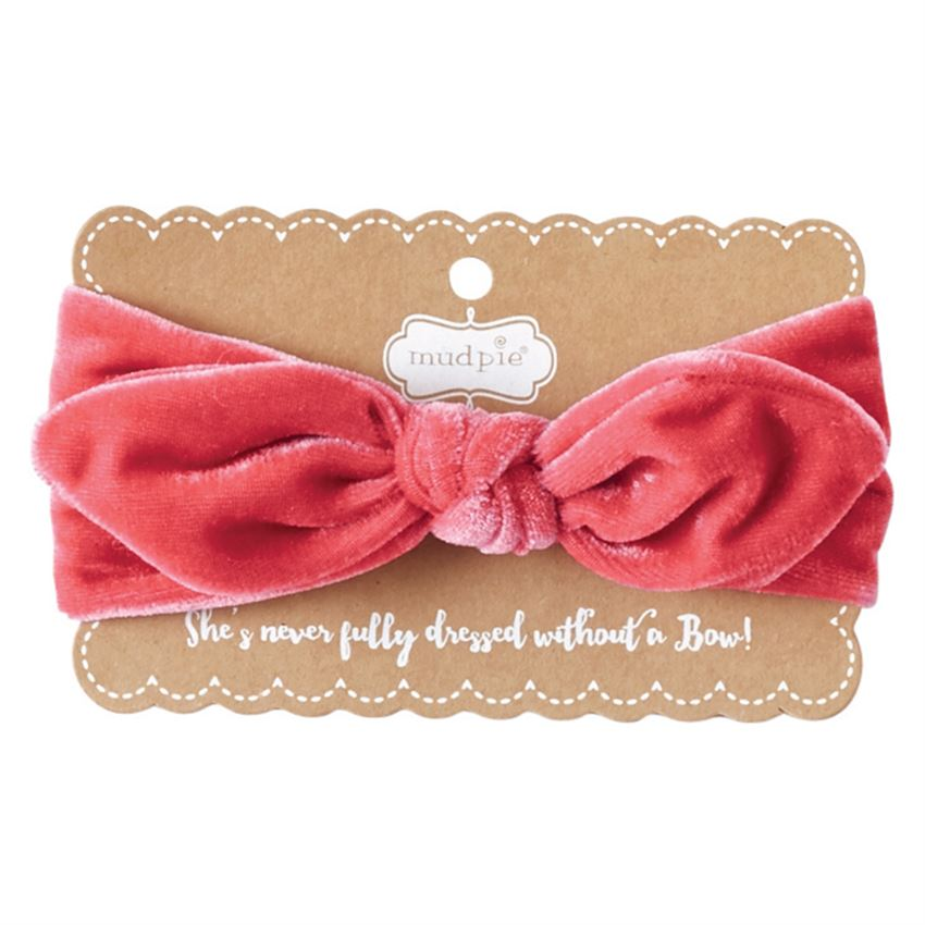 MUDPIE - Hot Pink Velvet Bow Headband