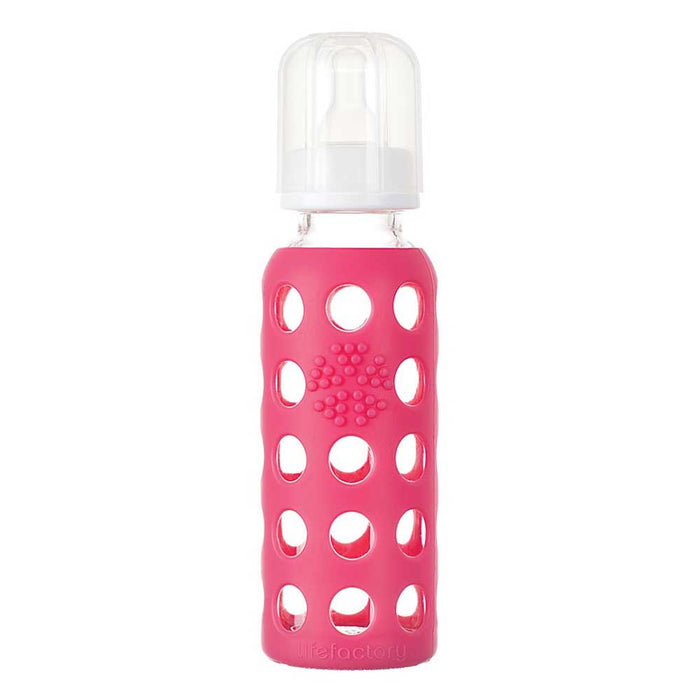 LIFEFACTORY 9oz Glass Baby Bottle with Silicone Sleeve