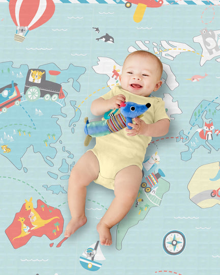 SKIP HOP Doubleplay Reversible Playmat - Little Travelers/Herringbone
