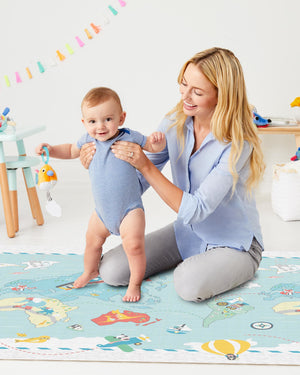 SKIP HOP Doubleplay Reversible Playmat - Little Travelers/Herringbone - PinkiBlue