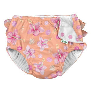 IPLAY Ruffle Snap Swim Diaper - Coral Hibiscus - PinkiBlue