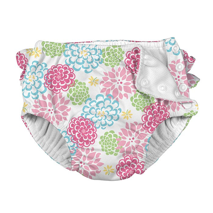 IPLAY Reusable Snap Swim Diaper - White Zinnia