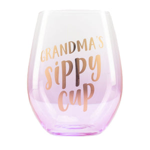 PEARHEAD Grandma`s Sippy Cup Wine Glass - PinkiBlue