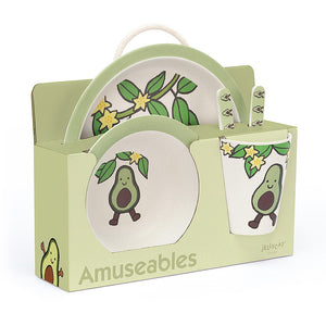JELLYCAT Amuseables Bamboo Tableware Set - Avocado - PinkiBlue