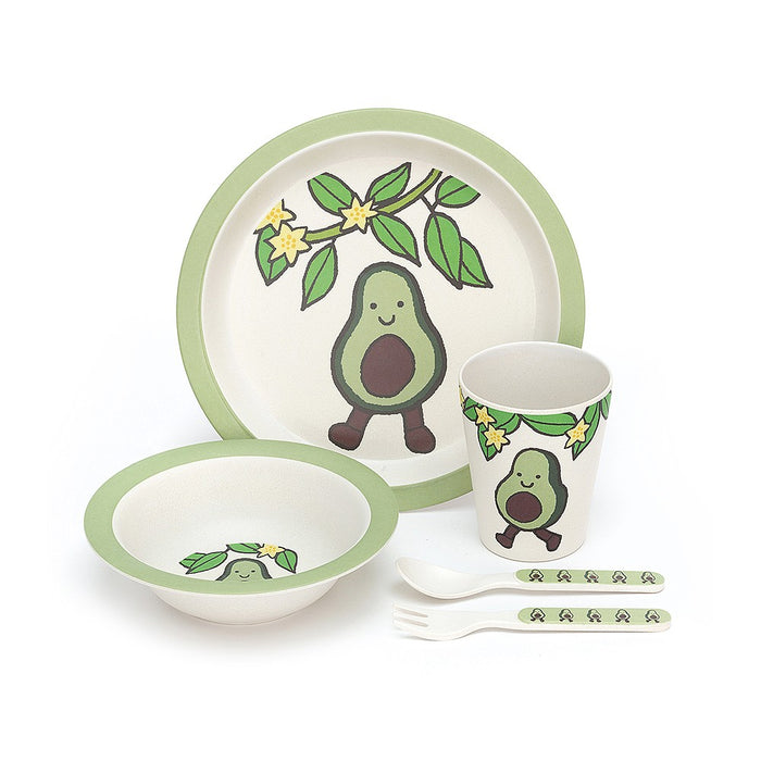 JELLYCAT Amuseables Bamboo Tableware Set - Avocado