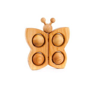 BAJO Wooden Toy - Butterfly Rattle - PinkiBlue
