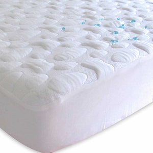 FORTY WINKS Crib Mattress Protector - Tencel PebblePuff Quilt - PinkiBlue