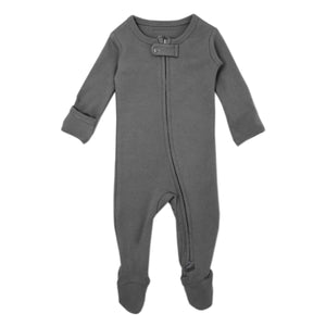 LOVEDBABY Organic Reverse Zipper Footie Overall - Grey - PinkiBlue