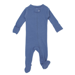 LOVEDBABY Organic Reverse Zipper Footie Overall - Slate - PinkiBlue