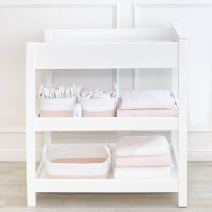 LIVING TEXTILES 3PC Cotton Nursery Storage - PinkiBlue