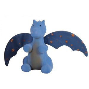 TIKIRI Natural Rubber Rattle with Crinkle Wings - Midnight Dragon - PinkiBlue