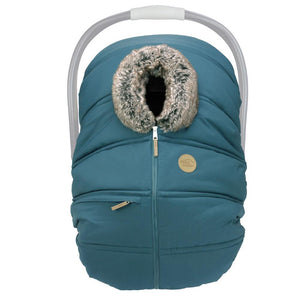 Winter Baby Car Seat Cover – Teal / Wolf - PinkiBlue