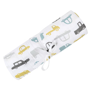 PERLIMPINPIN Cotton muslin swaddle -Cars - PinkiBlue