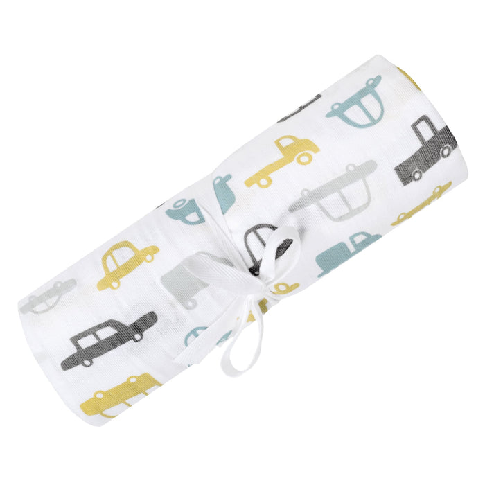 PERLIMPINPIN Cotton muslin swaddle -Cars