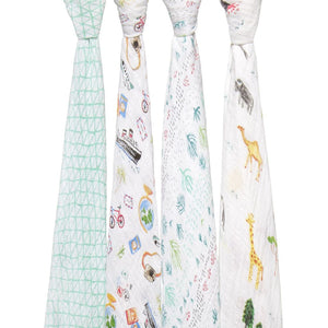 ADEN AND ANAIS Classic Swaddles 4 Pack - PinkiBlue