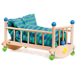 BAJO Wooded Toys Doll's Cot - PinkiBlue