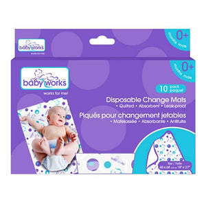 BABY WORKS Disposable Diaper Change Mats - PinkiBlue