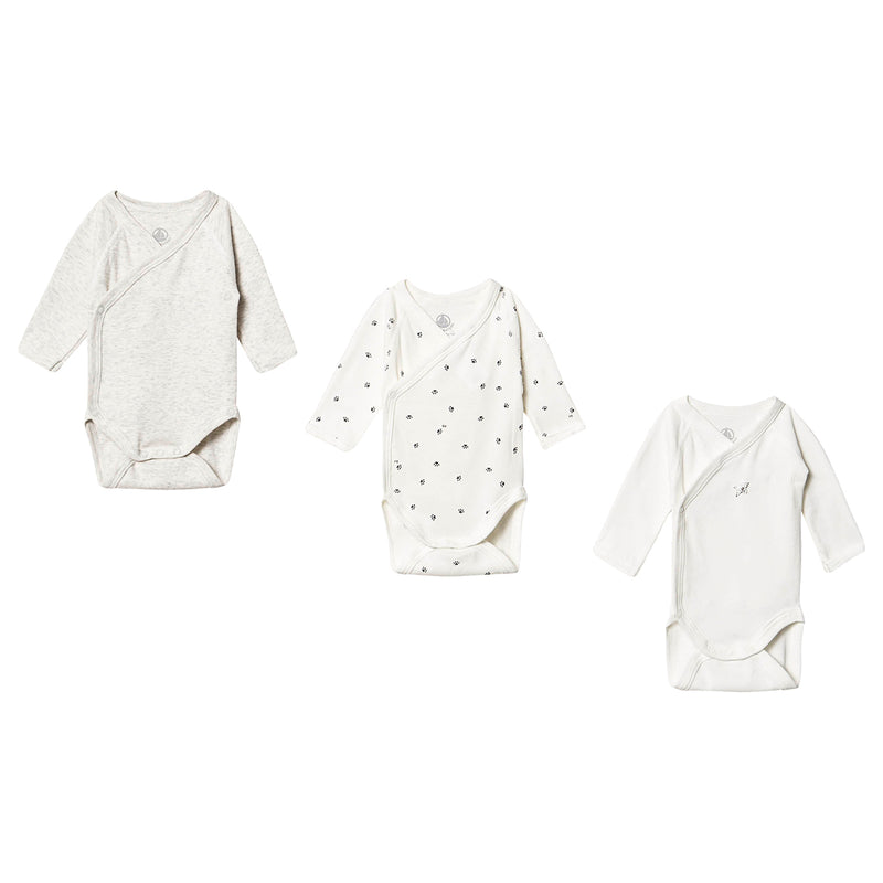 PETIT BATEAU Long Sleeve Cross Body Bodysuit - Pack of 3