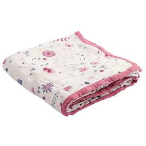 LITTLE UNICORN Deluxe Cotton Muslin Quilt - PinkiBlue