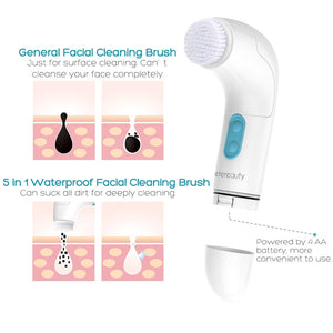 5 in 1 Waterproof Electric Facial and Body Cleansing Brush with 5 Brush Heads for Removing Blackhead Exfoliating and Massaging