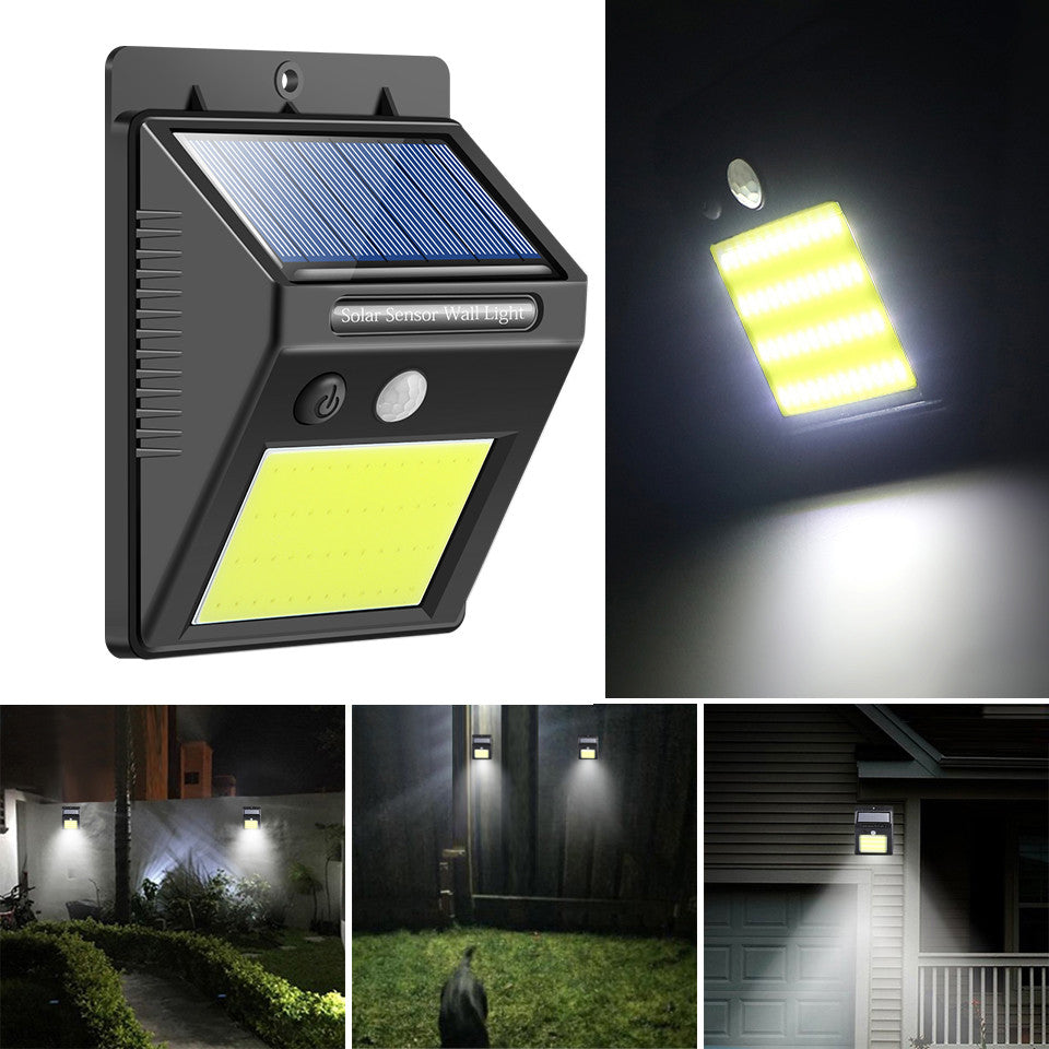 48 LED Motion Solar Light Waterproof Security Night Light Rechargeable Wall Light Outdoor Cool White